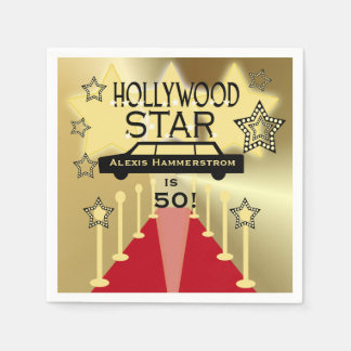 Custom Hollywood Star Birthday Paper Napkins