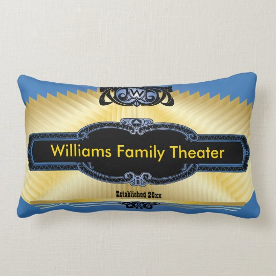 Custom Home Theatre Add Your Monogram Lumbar Pillow