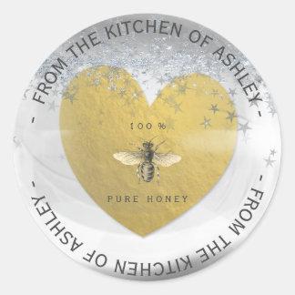 Custom Homemade Honey Bee Heart Silver Gold Stars Classic Round Sticker