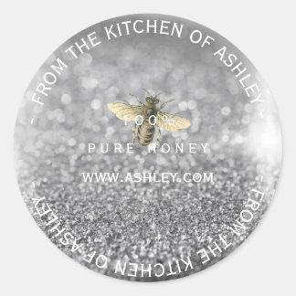 Custom Homemade Honey Gray Silver Glitter Glass Classic Round Sticker