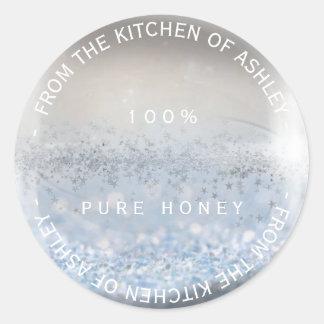 Custom Homemade Honey Silver Glitter Snow Ball Round Sticker