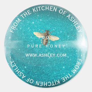 Custom Homemade Honey Turquoise Blue Glitter Glass Classic Round Sticker