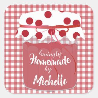 Custom Homemade Jam and Gingham Square Sticker