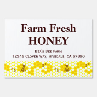 Custom Honey Farm Advertising Yard Sign