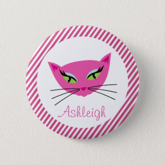 Custom Hot Pink Kitty with Stripes 2 Inch Round Button