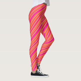 Custom Hot Pink, Orange and Yellow Striped Pattern Leggings