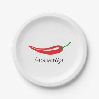 Custom hot red chili pepper disposable plates