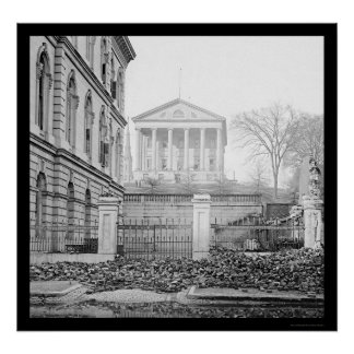 Custom House & Capitol in Richmond, VA 1865 Poster