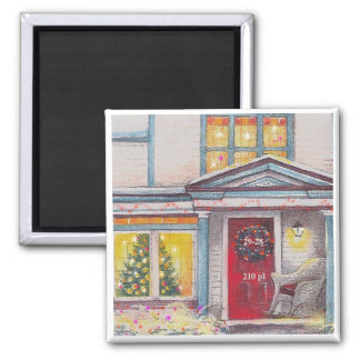 CUSTOM HOUSE NUMBER XMAS GIFT SQUARE MAGNET