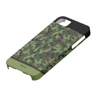 Custom Hunting Camouflage Green Black & Brown Case For The iPhone 5