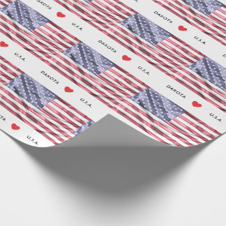 Custom I Heart Flag of United States of America Wrapping Paper