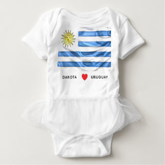 Custom I Heart Flag of Uruguay Baby Bodysuit
