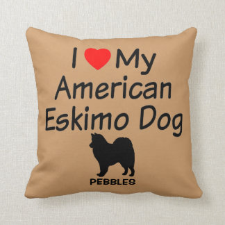 Custom I Love My American Eskimo Dog Throw Pillow