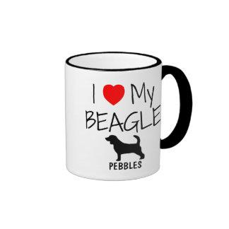 Custom I Love My Beagle Ringer Coffee Mug