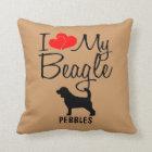 Custom I Love My Beagle Throw Pillow