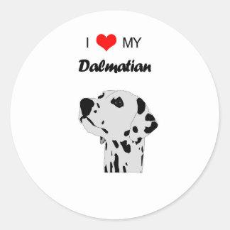 Custom I Love My Dalmatian Dog Heart Classic Round Sticker