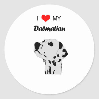 Custom I Love My Dalmatian Dog Heart Round Sticker