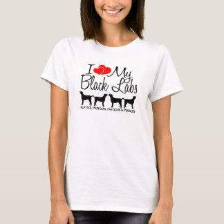 Custom I Love My Four Black Labs T-Shirt