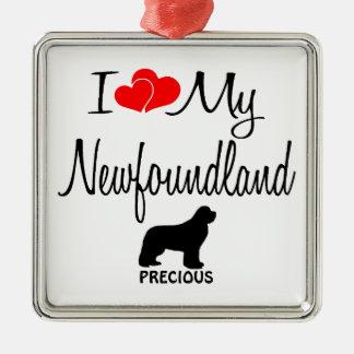 Custom I Love My Newfoundland Metal Ornament