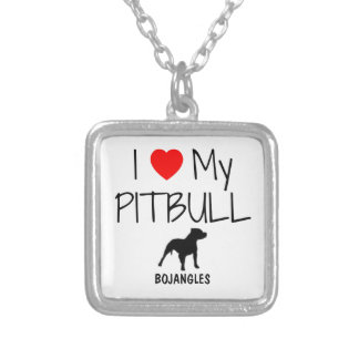 Custom I Love My Pitbull Silver Plated Necklace