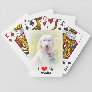 Custom I Love My Poodle Playing Cards
