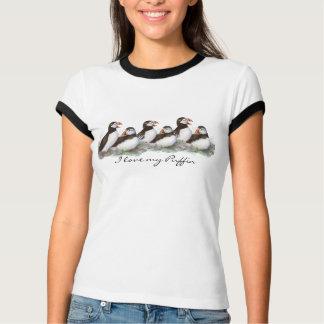 "Custom ""I love my Puffin"", Cute Watercolor Puffins T-Shirt"