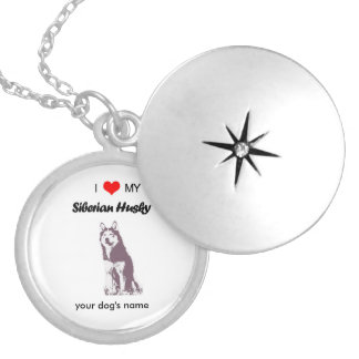 Custom I love my Siberian Husky silver necklace
