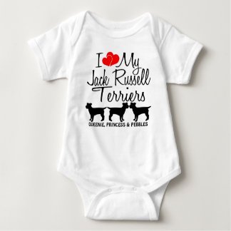 Custom I Love My THREE Jack Russell Terriers Baby Bodysuit