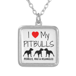 Custom I Love My Three Pitbulls Silver Plated Necklace
