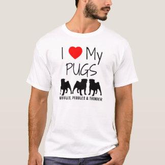 Custom I Love My Three Pugs T-Shirt