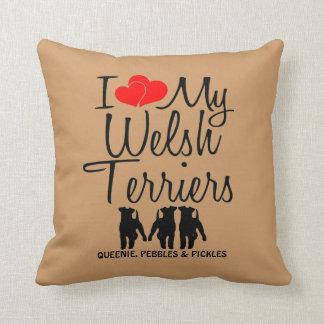 Custom I Love My Three Welsh Terriers Throw Pillow