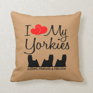 Custom I Love My Three Yorkies Throw Pillow