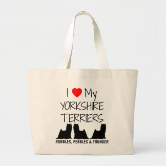 Custom I Love My Three Yorkshire Terriers Large Tote Bag