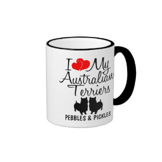 Custom I Love My Two Australian Terriers Ringer Coffee Mug