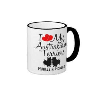 Custom I Love My Two Australian Terriers Ringer Mug
