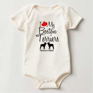 Custom I Love My Two Boston Terriers Baby Bodysuit