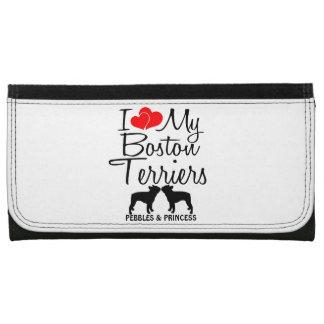 Custom I Love My Two Boston Terriers Wallets For Women