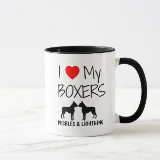 Custom I Love My Two Boxers Mug