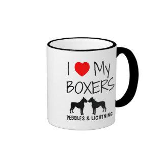 Custom I Love My Two Boxers Ringer Mug