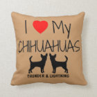 Custom I Love My Two Chihuahuas Throw Pillow