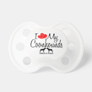 Custom I Love My Two Coonhounds Pacifier