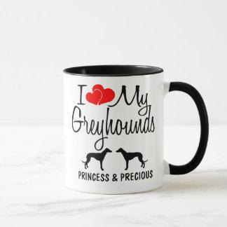 Custom I Love My Two Greyhounds Mug