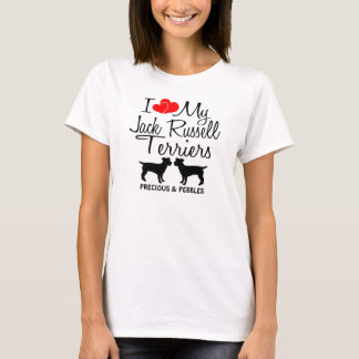 Custom I Love My Two Jack Russell Terriers T-Shirt