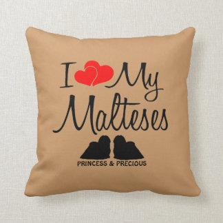 Custom I Love My Two Malteses Throw Pillow