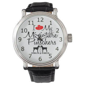 Custom I Love My Two Miniature Pinschers Watch