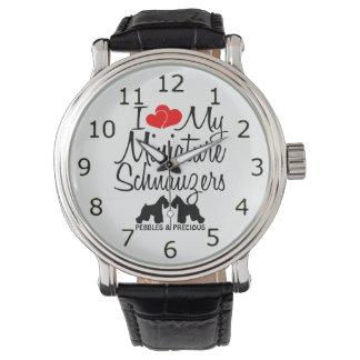 Custom I Love My Two Miniature Schnauzers Watch