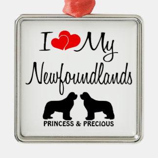 Custom I Love My Two Newfoundlands Metal Ornament