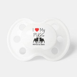 Custom I Love My Two Pugs Pacifier