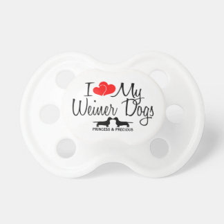 Custom I Love My Two Weiner Dogs Pacifier
