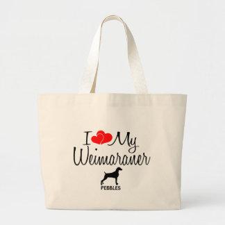 Custom I Love My Weimaraner Large Tote Bag